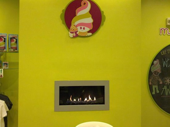 Menchie's Taylor Court: Stay warm with our fire place