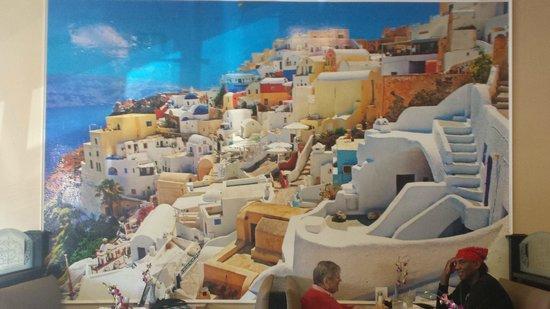 Opa! Opa! Authentic Greek Restaurant : WALL MURAL OF SANTORINI, GREECE AT OPA! OPA!