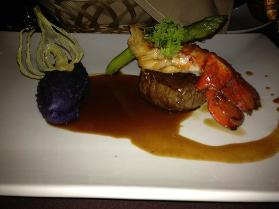"""Le Mistral: Terre et Mer (""""Turf and Surf"""") Main course for 4 course lobster menu"""
