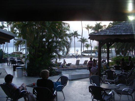 Hotel Fleur d'Epee: Plage et piscine vue du bar