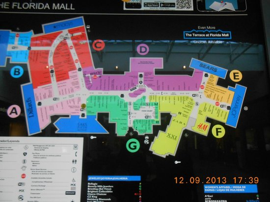 Map Of Florida Mall.Mapa Do Florida Mall Picture Of The Falls Shopping Center Miami