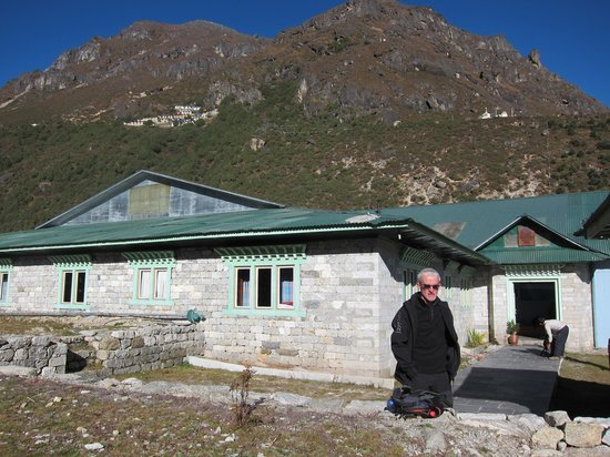 Thami, Nepal: The lodge with the Thame Monastery in background