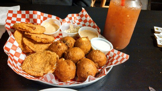 Flavors of Louisiana: out of this world fried green tomatoes & hush puppies