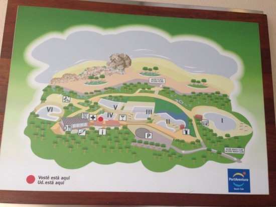 Lumine Mediterránea Beach & Golf Community: Outdated map, one of the pools closed and PortAventura logo ;)