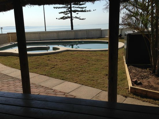 Waltzing Matilda Motel: View from ;the pool overlooking Moreton Bay