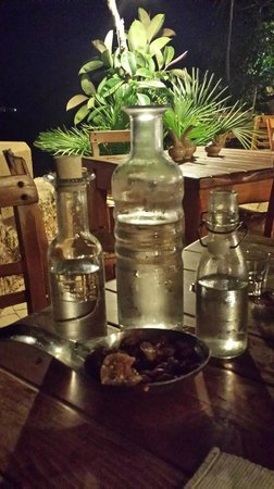 "Gramboussa: Our ""Welcome"" karafe of raki!"