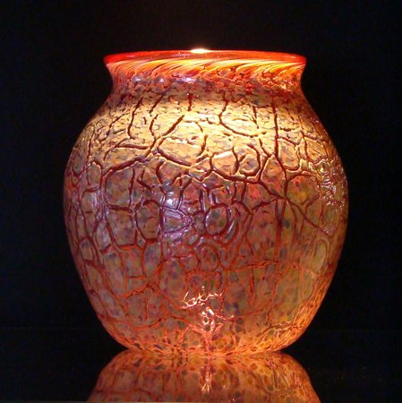 Conway Glass: Pink Raku Blown Glass