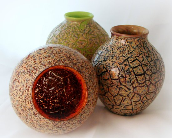Conway Glass: Raku Blown Glass Trio