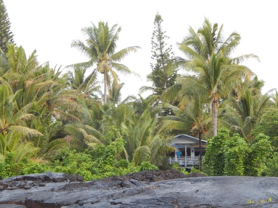 Ma'ukele Lodge: View from the lava beach of the house