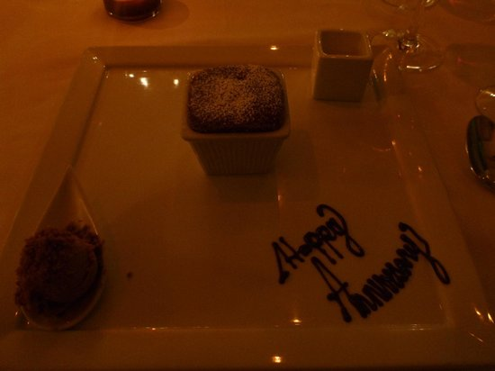 Marcel's by Robert Wiedmaier: Loved the hand written icing happy anniversary