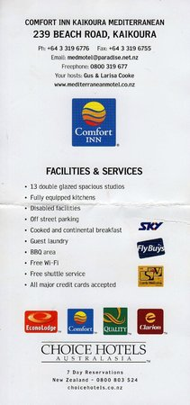 "Mediterranean Motel Kaikoura: ***** Note the ""SKY"" logo?????"