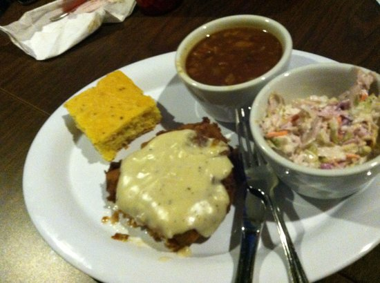 Effin Texas Bar : Bang bang whop chop with cole slaw and baked beans. So good.