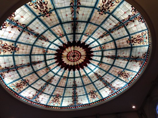 The Jefferson Hotel : Stained Glass ceiling in lobby