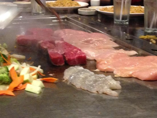 Kobe Japanese Steak & Seafood: all the meat ready to grill.  All this for 8 people!