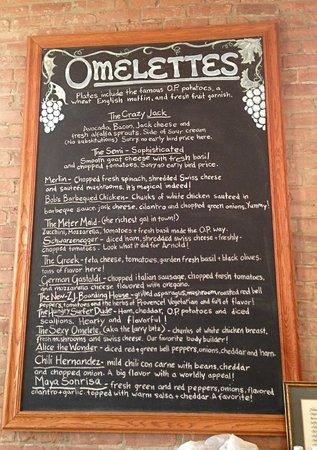 Omelette Parlor: The Omelette menu