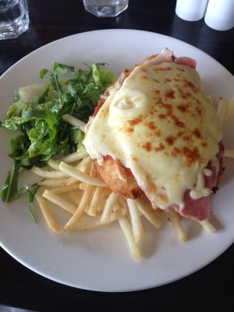 Royal Mail Dining Room: Free range chicken Parma with chips & salad