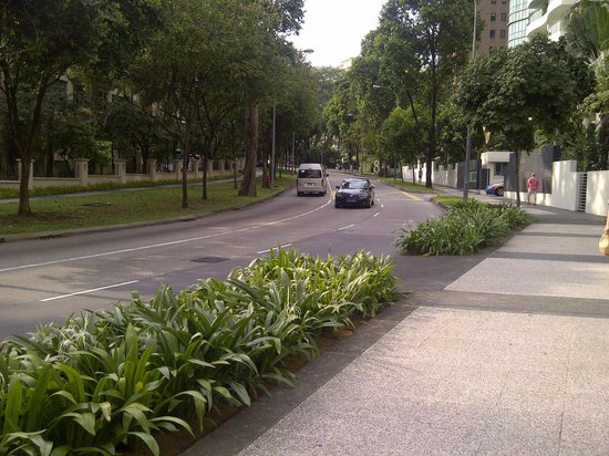 RELC International Hotel : the road infront of the hotel leading to orchard road