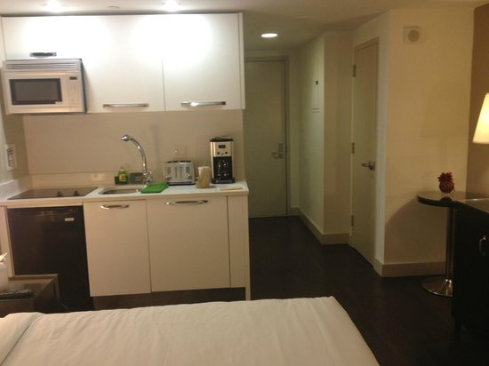 Metro Apartments: kitchenette on the left, closet on the right, door in the front