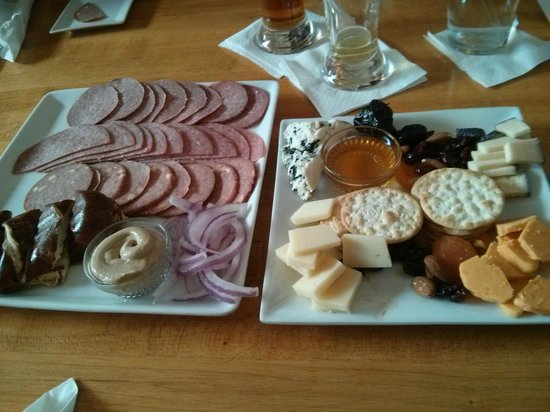 Wisconsin Cheese Mart: the sausage platter and the wisconsin cheese sampler