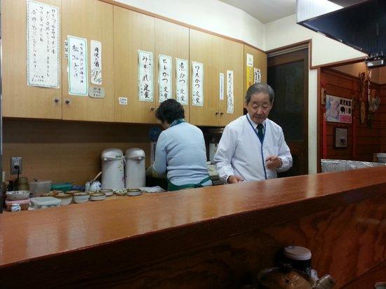 Tonkatsu Rikyu: the menu on the wall with the main chef (he can speak English!)