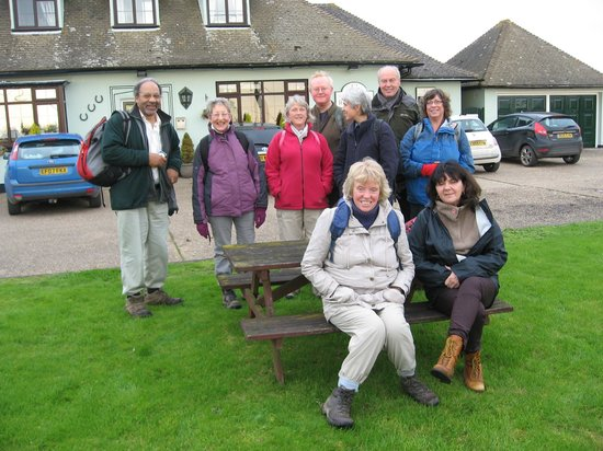 Three Horseshoes: Our walking group in front of the pub