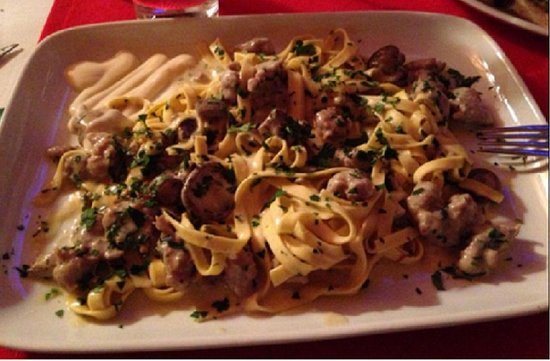 """Fettuccine Buon Italia"" ( with white mushroom, italian sausage and bechamel sauce)"