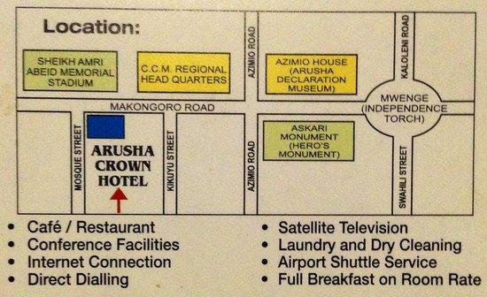 Arusha Crown Hotel : Визитка отеля