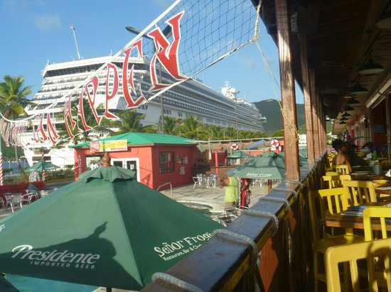 Senor Frog's St Thomas : View of our ship from Senor Frogs!!