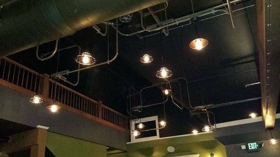 Dublins: Creative use of lights and fans in the second floor dining area