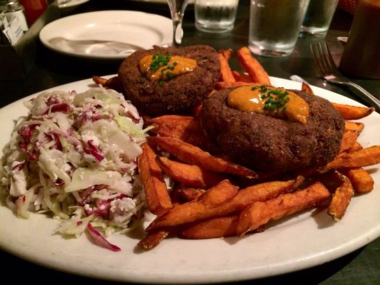 Maxie's Supper Club and Oyster Bar: Crab cakes and sweet potato fries. I was a clean plater!  The slaw had bits of Gorgonzola which