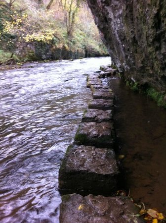 Monsal Trail: Stepping stones below the Monsdal trail allowing passage by the river
