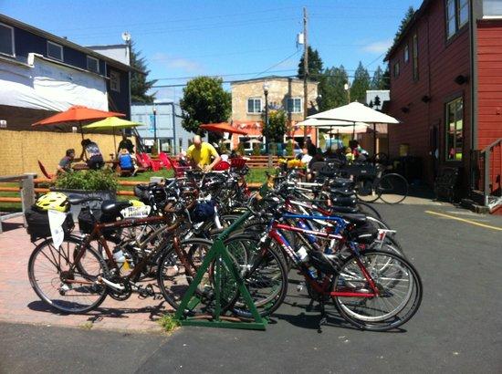 The Black Iron Grill: Bike Rack Behind Black Iron Grill