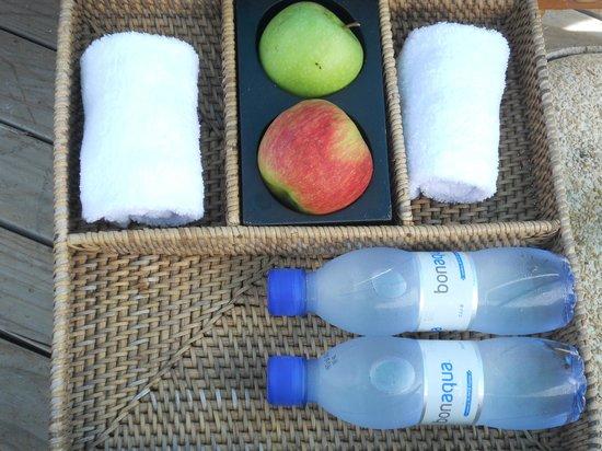 Anantara Dhigu MaldivesResort: Cesta bienvenida en la piscina