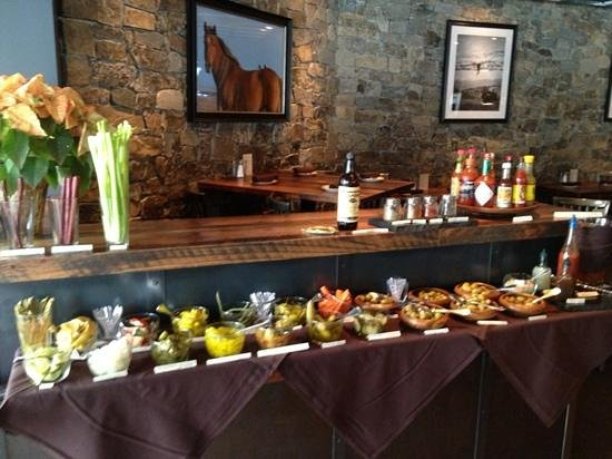 Carl's Tavern: Bloody Mary Buffet for Sunday brunch.