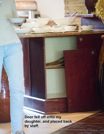 Shishangeni Private Lodge: Door in dining area that fell onto toddler.