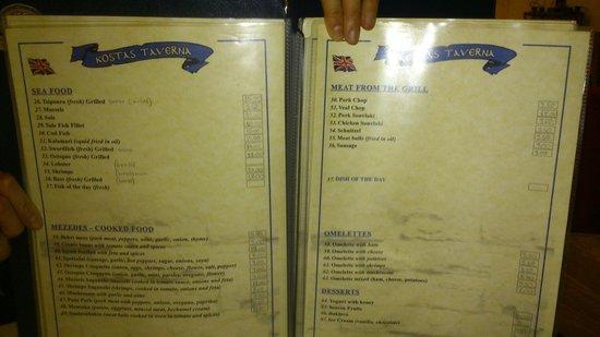 Taverna Kostas : menu