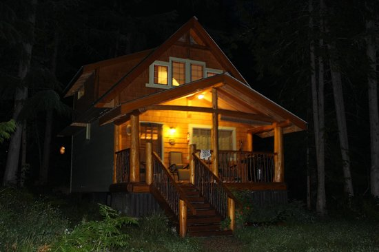 Wedgwood Retreat: Robins Nest Cabin at night