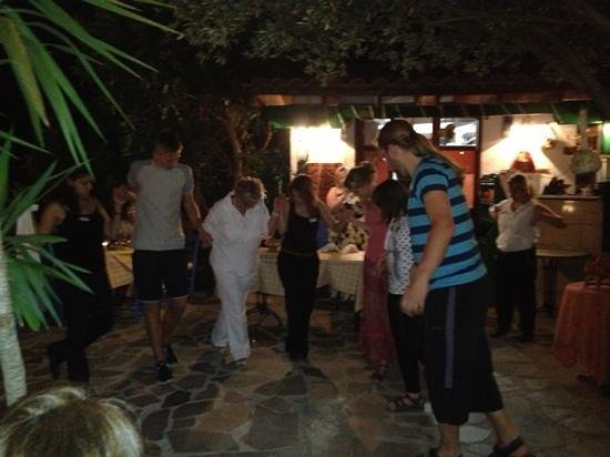 Elounda Water Park Residence: Learning to dance at the barbecue night