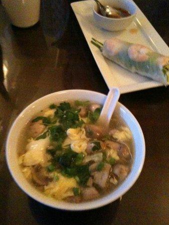 Pho Chau: Egg Drop Soup & Spring Roll