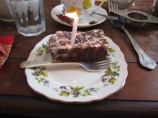 Pettigrew Tea Rooms: Rocky road with a birthday candle!