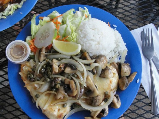 Blue Ginger Cafe : chicken with mushrooms, onions, & capers in white wine sauce