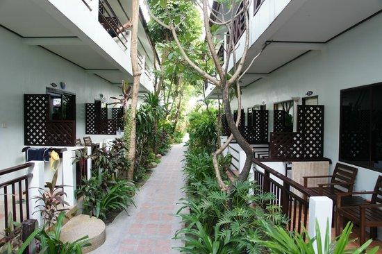 Ark Bar Beach Resort: allee entre les chambres pour aller a la plage