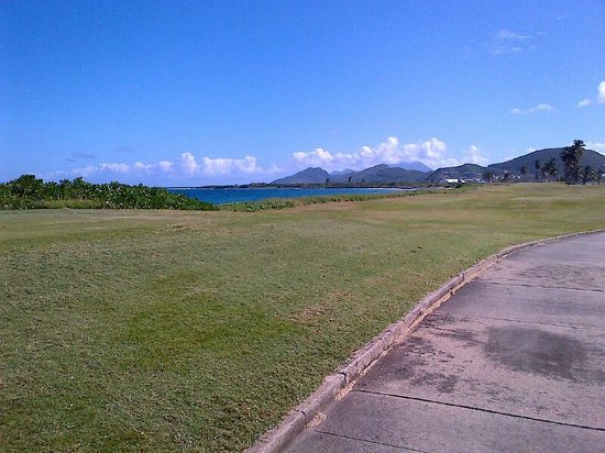 South Coast, St. Kitts: View out across the bay and south to Nevis