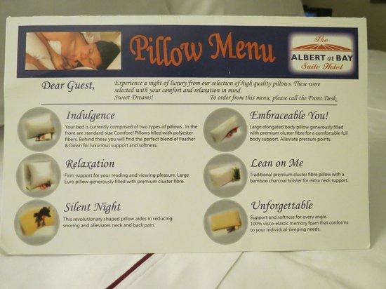 Albert at Bay Suite Hotel: pillow menu