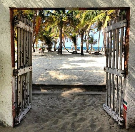 Poc-Na Hostel: Gates to beach, hammocks and beach bar coming from dining/common area