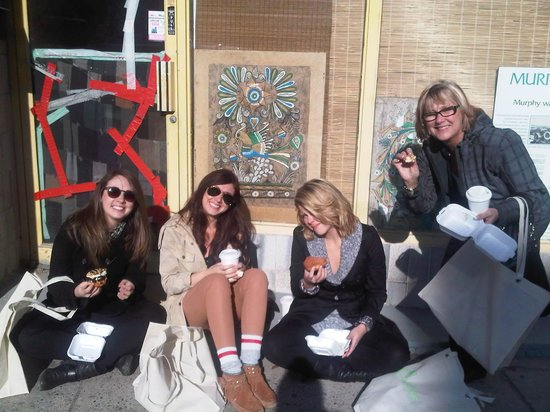 "Foodies on Foot: The gals enjoying their ""Glory Hole"" treats!"