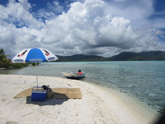 Vahine Private Island Resort: Private moth picnic and Vahine boat