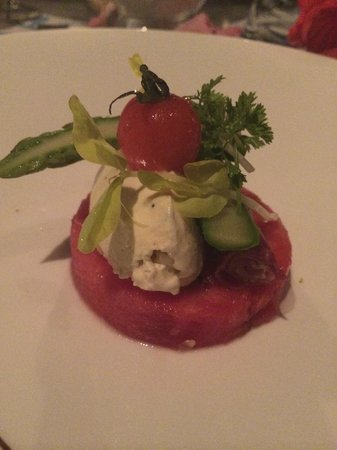 Vahine Island - Private Island Resort: Goat cheese and fresh watermelon