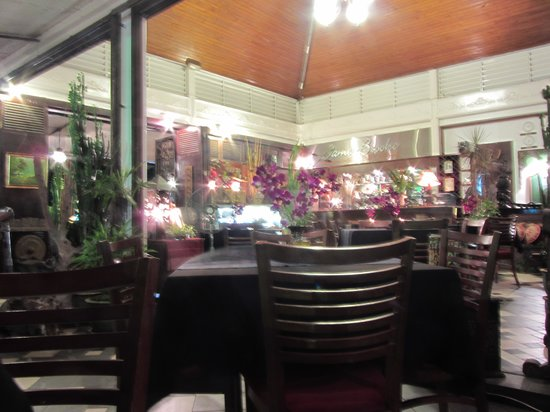 James Brooke Bistro: Inside at night - not a great photo