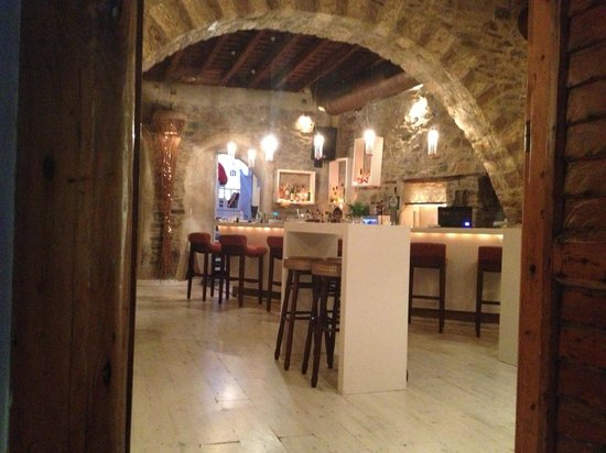 Naxos Town, Greece: a bar entrance in the old town